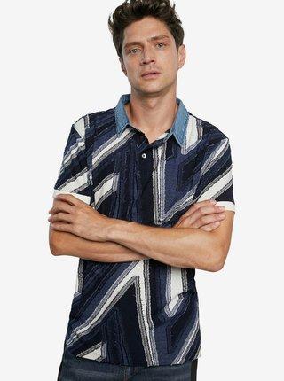 Desigual modré pánske tričko Polo Vincent