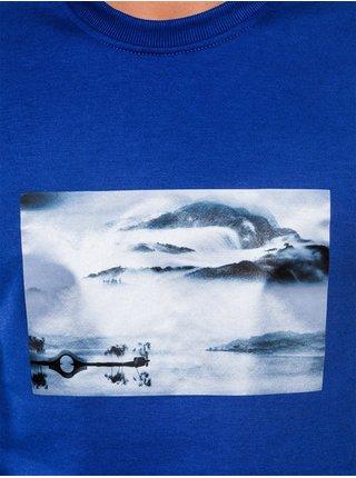 Pánská mikina bez kapuce s potiskem B983 - modrá