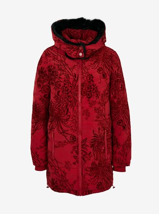 Červený dámsky vzorovaný prešívanný zimný kabat Desigual Japan