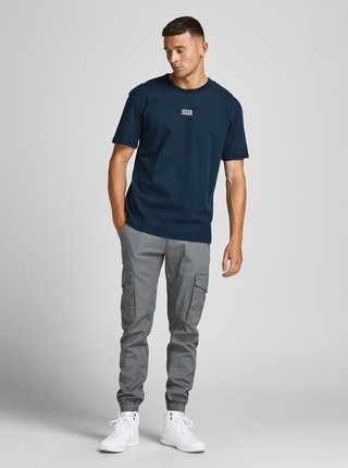Tmavě modré tričko s nápisem Jack & Jones Classic