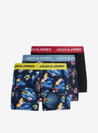 Sada tří vzorovaných  boxerek Jack & Jones Flower
