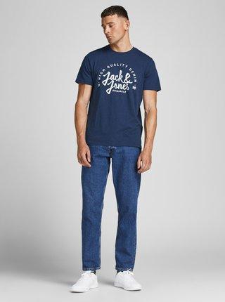 Tmavě modré tričko s nápisem Jack & Jones Kimbel