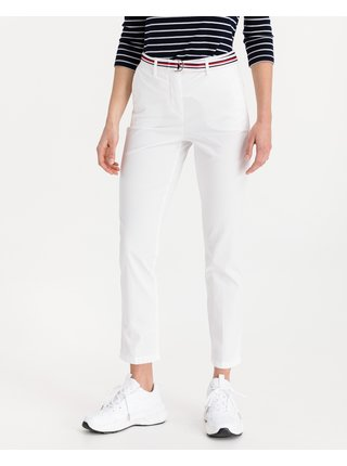 Nohavice pre ženy Tommy Hilfiger - biela