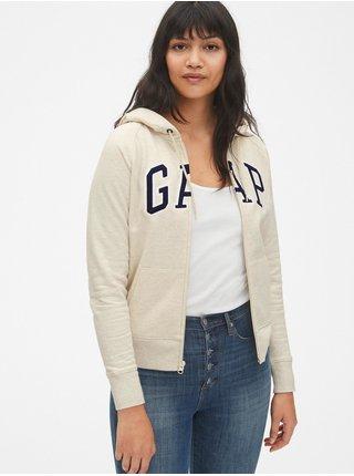 Béžová dámská mikina GAP Logo full-zip hoodie