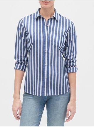 Modrá dámská košile print shirt in poplin