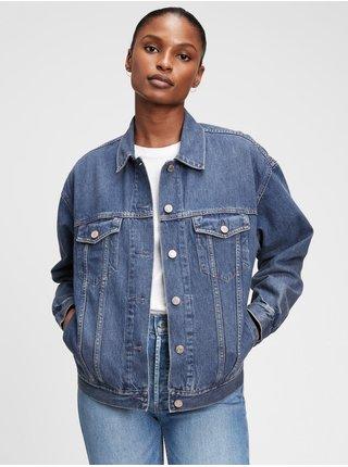 Modrá dámská džínová bunda oversized denim jacket with Washwell