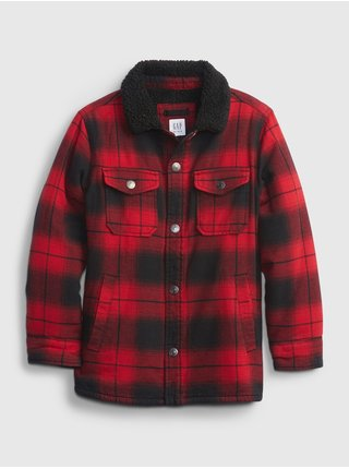 Červená klučičí bunda buff pleed shirt jacket