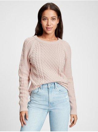 Béžový dámský svetr cable knit sweater