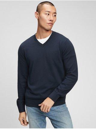 Modrý pánský svetr v-neck sweater