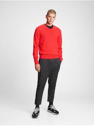 Červený pánský svetr v-neck sweater