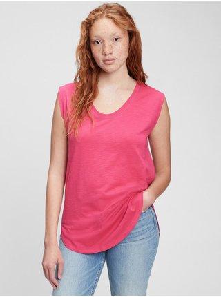 Růžové dámské tričko muscle tunic