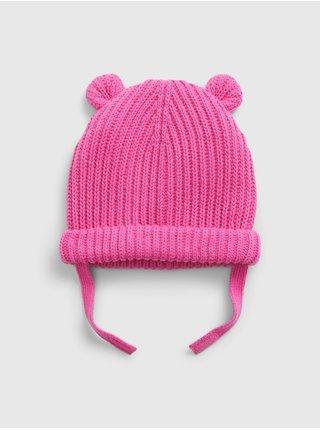 Doplňky - Dětská čepice bear beanie Růžová