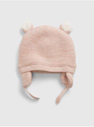 Doplňky - Dětská čepice lined garter hat Růžová