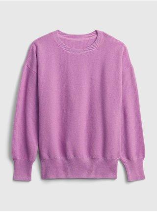 Růžový holčičí svetr solid slouchy pullover