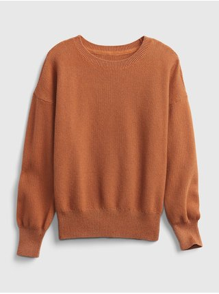 Hnědý holčičí svetr solid slouchy pullover