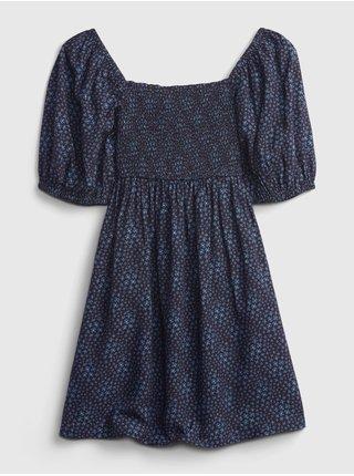 Modré holčičí šaty šaty woven smocked dress