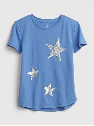 Modré holčičí tričko short sleeve interactive graphic t-shirt