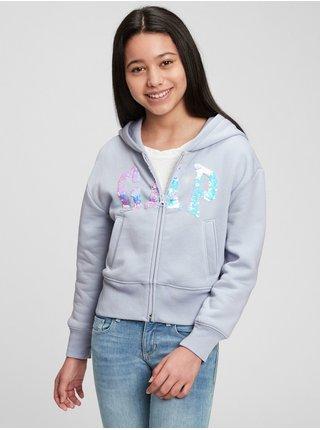 Modrá holčičí mikina GAP Logo flippy fleece
