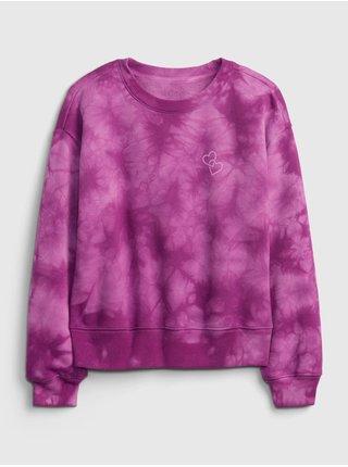 Růžová holčičí mikina tie-dye crew