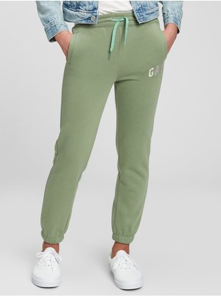 Zelené holčičí tepláky GAP Logo fleece joggers