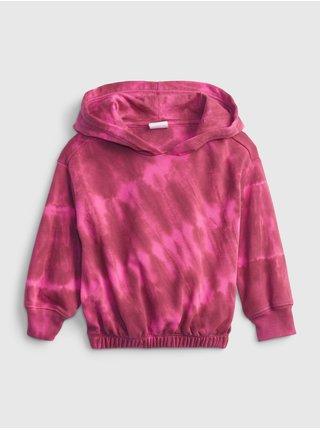 Růžová holčičí mikina tie dye hoodie