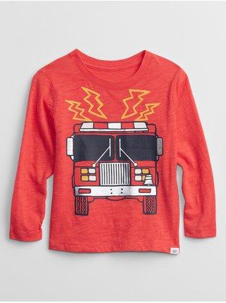 Červené klučičí tričko fire truck graphic t-shirt