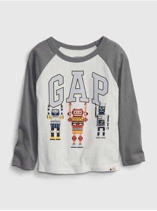 Bílé klučičí tričko GAP Logo robots t-shirt
