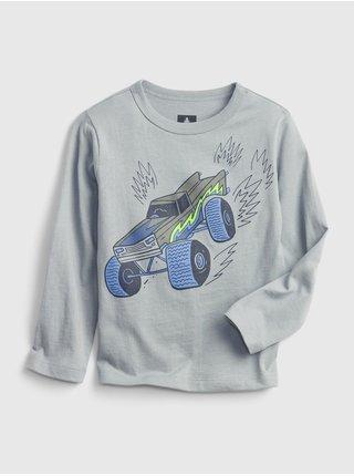 Šedé klučičí tričko long sleeve graphic t-shirts