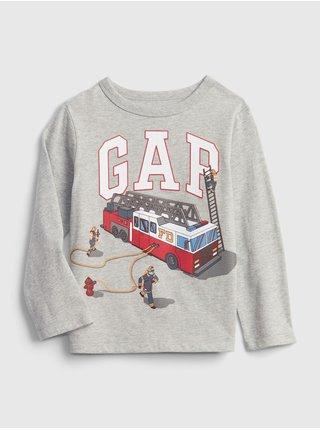 Šedé klučičí tričko GAP Logo fire truck t-shirt