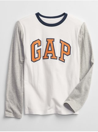 Bílé klučičí tričko GAP Logo long sleeve t-shirt