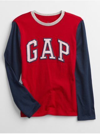 Červené klučičí tričko GAP Logo long sleeve t-shirt