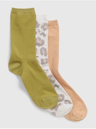 Barevné dámské ponožky crew, 3 páry