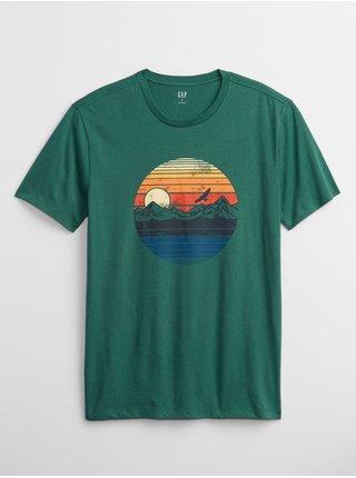 Zelené pánské tričko sunset graphic t-shirt