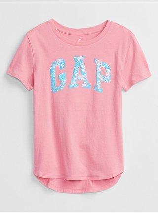 Růžové holčičí tričko GAP Logo better arch t-shirt