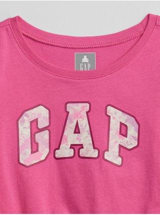 Růžové holčičí tričko GAP Logo long sleeve t-shirt