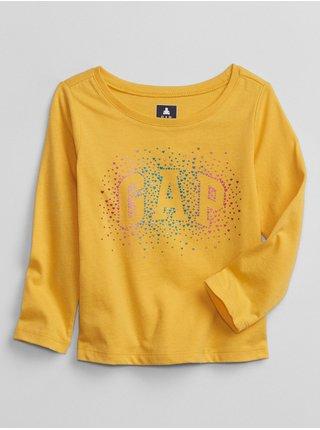 Žluté holčičí tričko GAP Logo long sleeve t-shirt