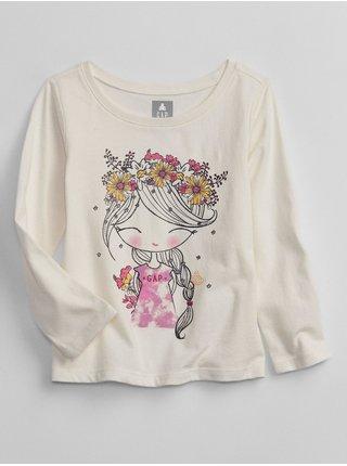 Béžové holčičí tričko long sleeve graphic t-shirt