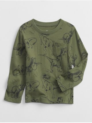 Zelené klučičí tričko long sleeve dinosaurian print t-shirt