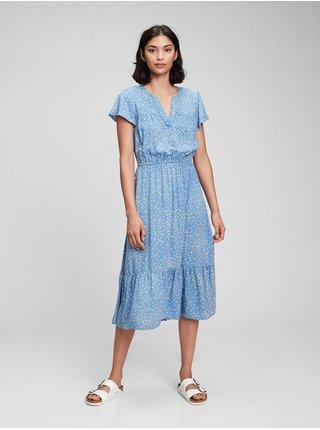 Modré dámské šaty short sleeve v-neck midi dress