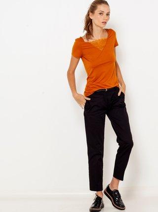 Oranžové tričko s krajkovou vsadkou CAMAIEU