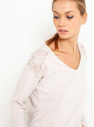 Tričká s dlhým rukávom pre ženy CAMAIEU - krémová