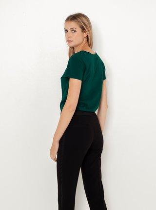 Tmavě zelené tričko s vánočním motivem CAMAIEU