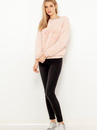 Světle růžová mikina z umělého kožíšku CAMAIEU