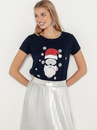 Tmavě modré tričko s vánočním motivem CAMAIEU