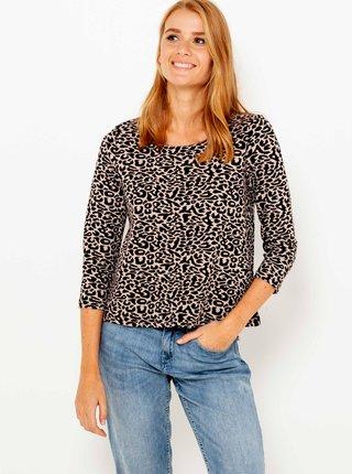 Krémové tričko s leopardím vzorom CAMAIEU