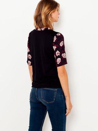 Černě květované tričko se stojáčkem CAMAIEU
