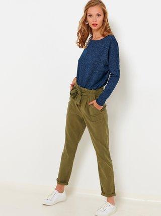 Tričká s dlhým rukávom pre ženy CAMAIEU - petrolejová