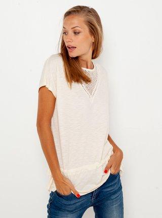 Bílé tričko s krajkovou vsadkou CAMAIEU
