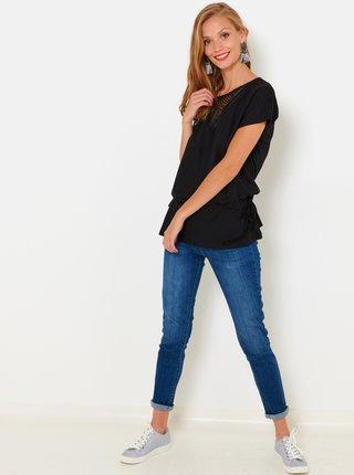 Černé tričko s krajkovou vsadkou CAMAIEU