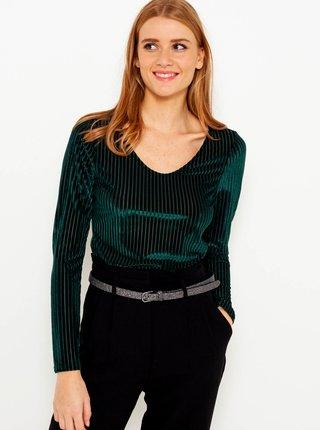 Tmavě zelené žebrované tričko CAMAIEU